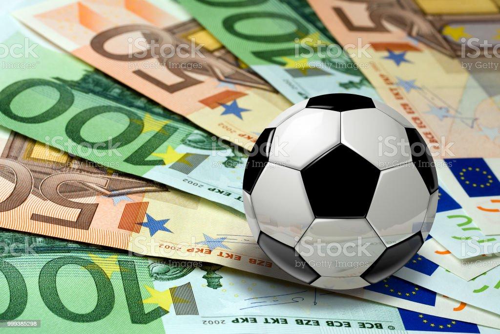 Soccer Ball on euro banknotes concept stock photo