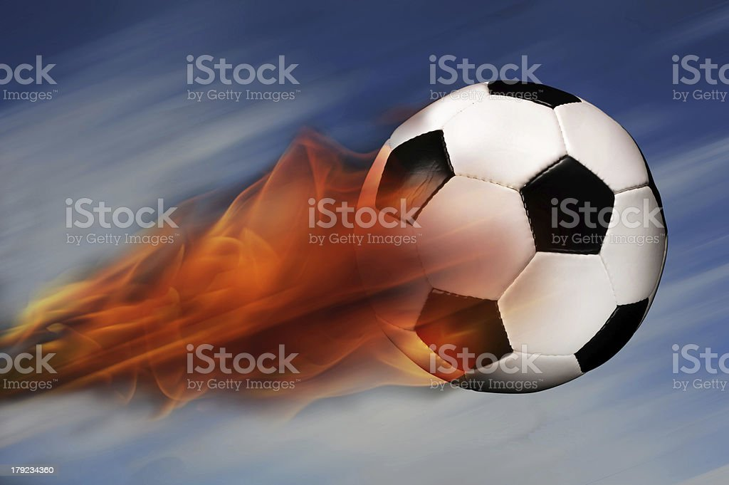 Soccer Ball on Fire royalty-free stock photo
