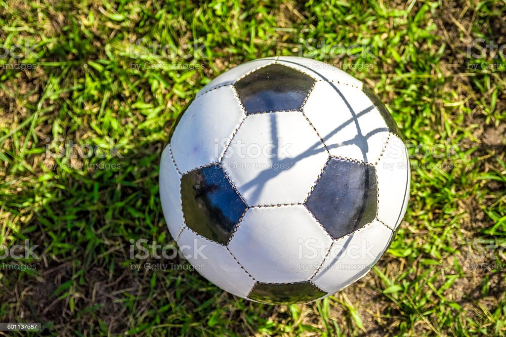 Soccer Ball on grass pad stock photo