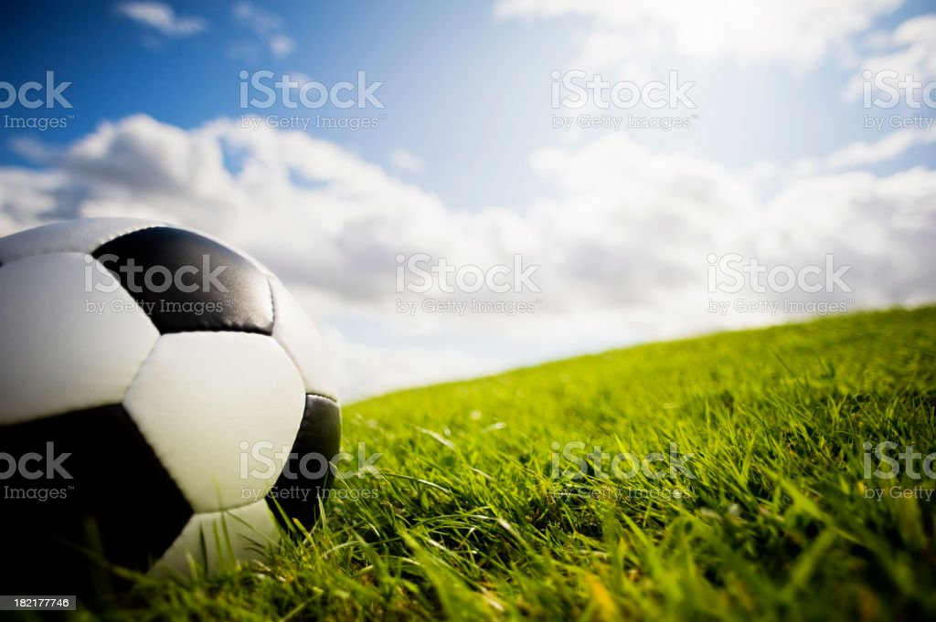 Soccer Ball on Grass Pitch and Goal Posts royalty-free stock photo
