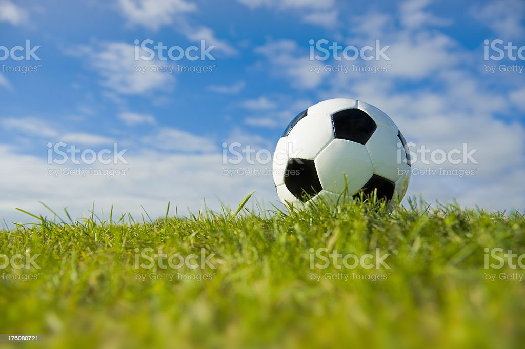 Soccer Ball on Grass Pitch stock photo