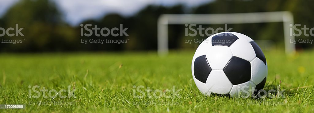 Soccer Ball on Grass with Goal royalty-free stock photo