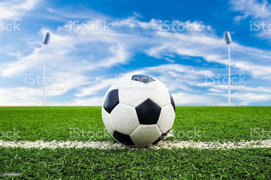 Pallone da calcio su erba verde campo foto stock royalty-free