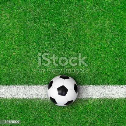 185262834 istock photo Soccer ball on green grass 172425907