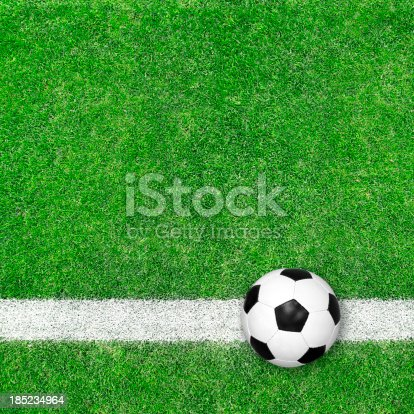 185262834 istock photo Soccer ball on green grass 185234964