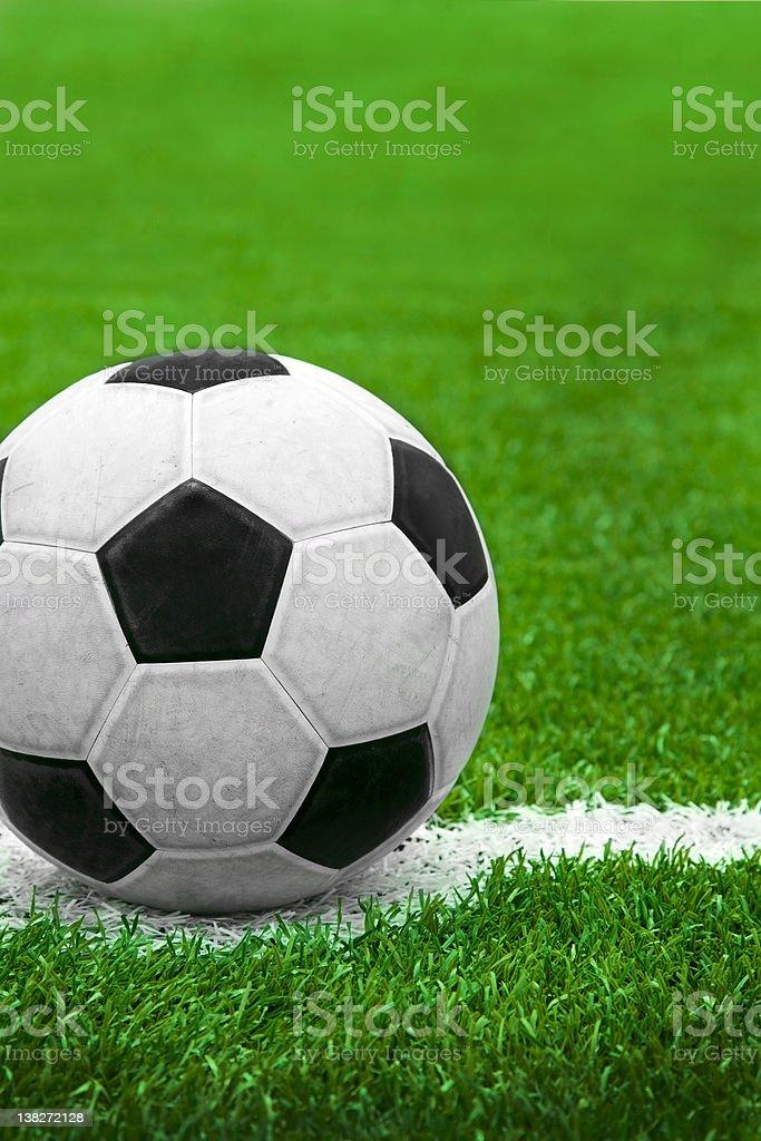 Soccer ball on kick point royalty-free stock photo