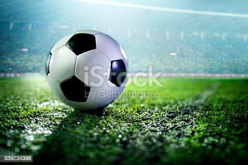 istock Soccer ball on sports field 539234398