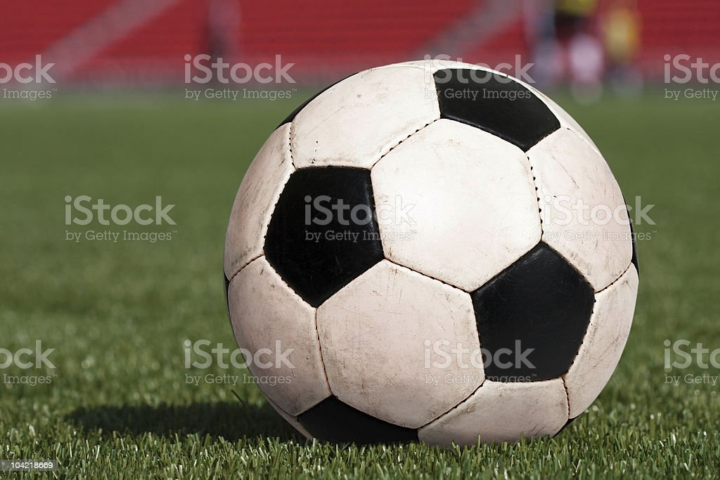 Soccer ball on stadium royalty-free stock photo