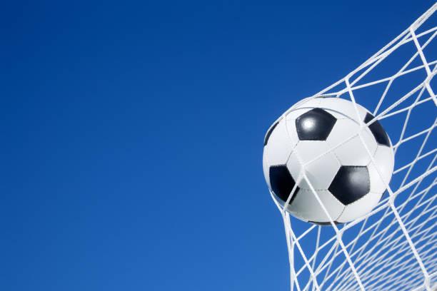 Soccer ball on the goal net stock photo