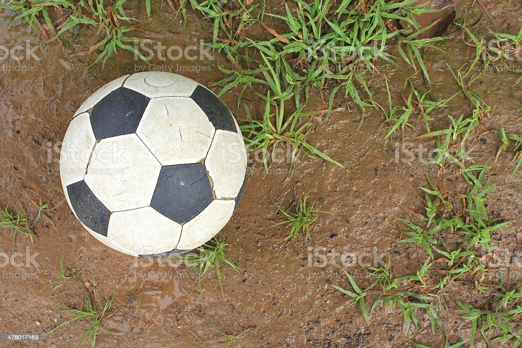 Soccer ball on turf royalty-free stock photo