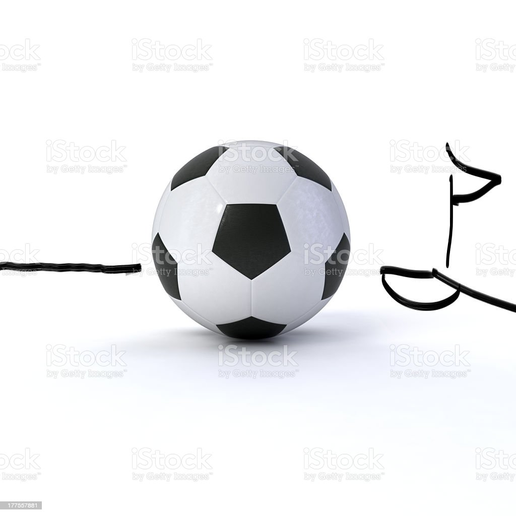 soccer ball on white ground with a sketched corner flag stock photo