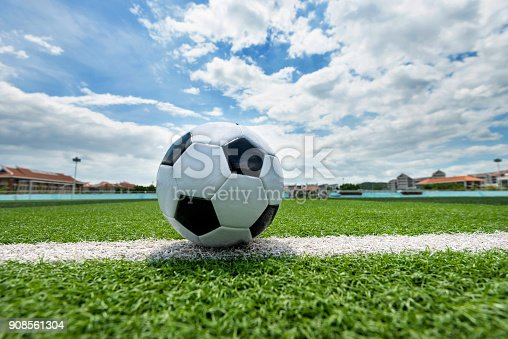 185262834 istock photo Soccer ball on white line 908561304