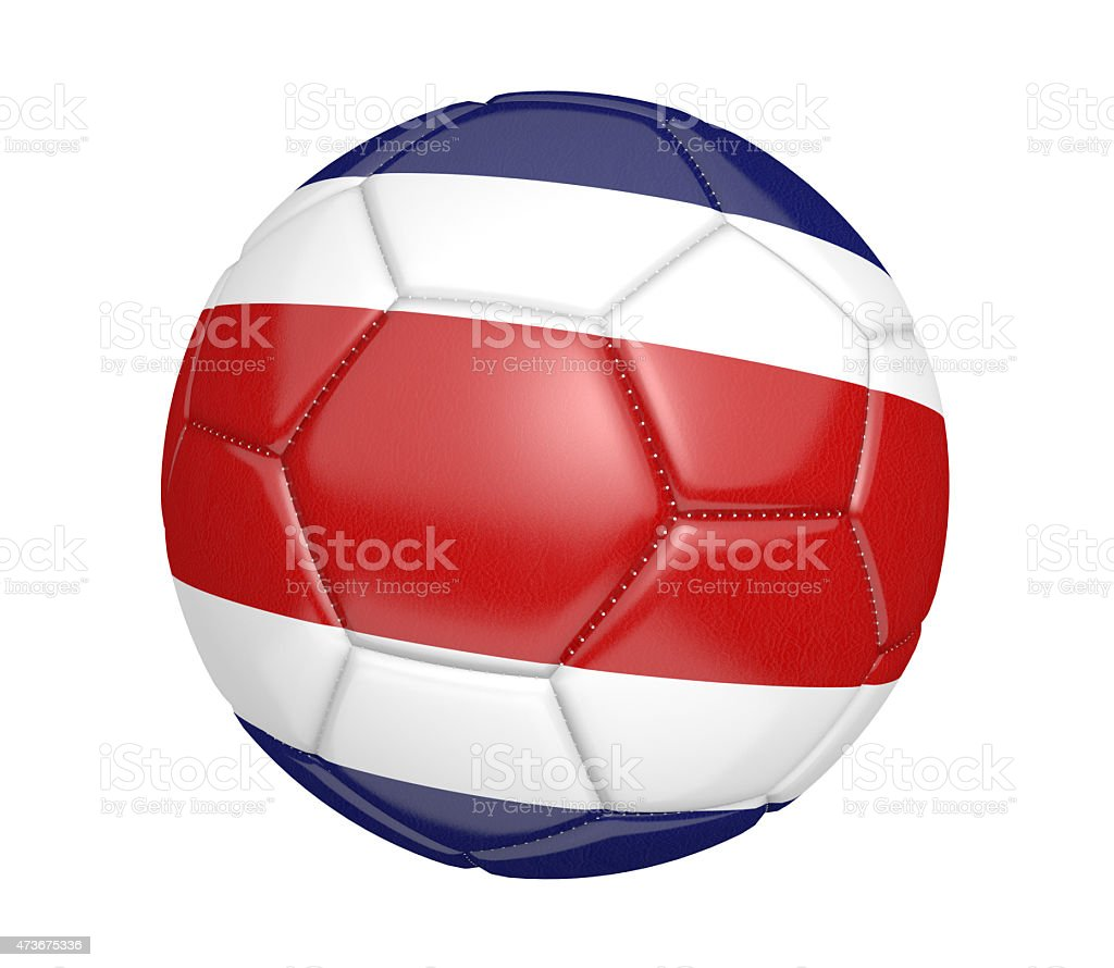 Soccer ball, or football, with the flag of Costa Rica stock photo