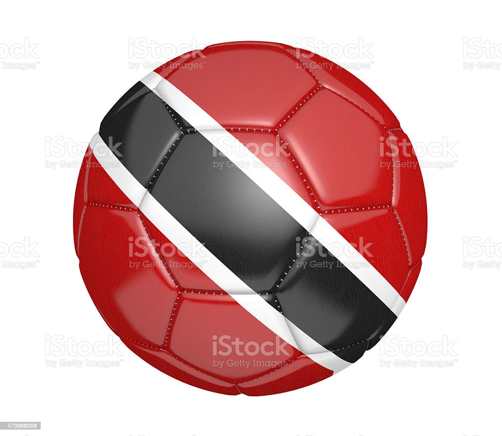 Soccer ball, or football, with Trinidad and Tobago flag stock photo