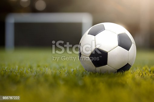 Soccer ball in the playing field