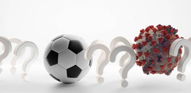 soccer ball question marks coronavirus covid-19 symbolic 3d-illustration - covid testing zdjęcia i obrazy z banku zdjęć