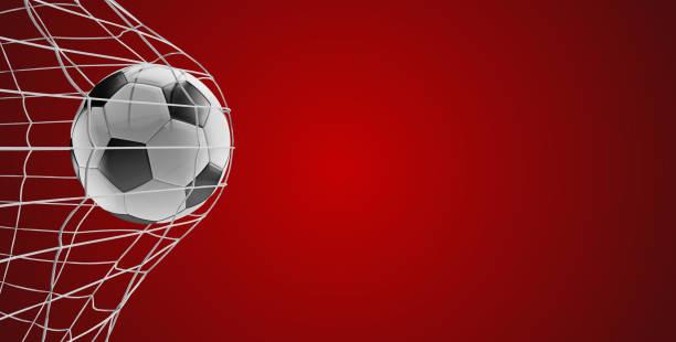 soccer ball voetbal doel 3d-illustratie op rood - soccer goal stockfoto's en -beelden
