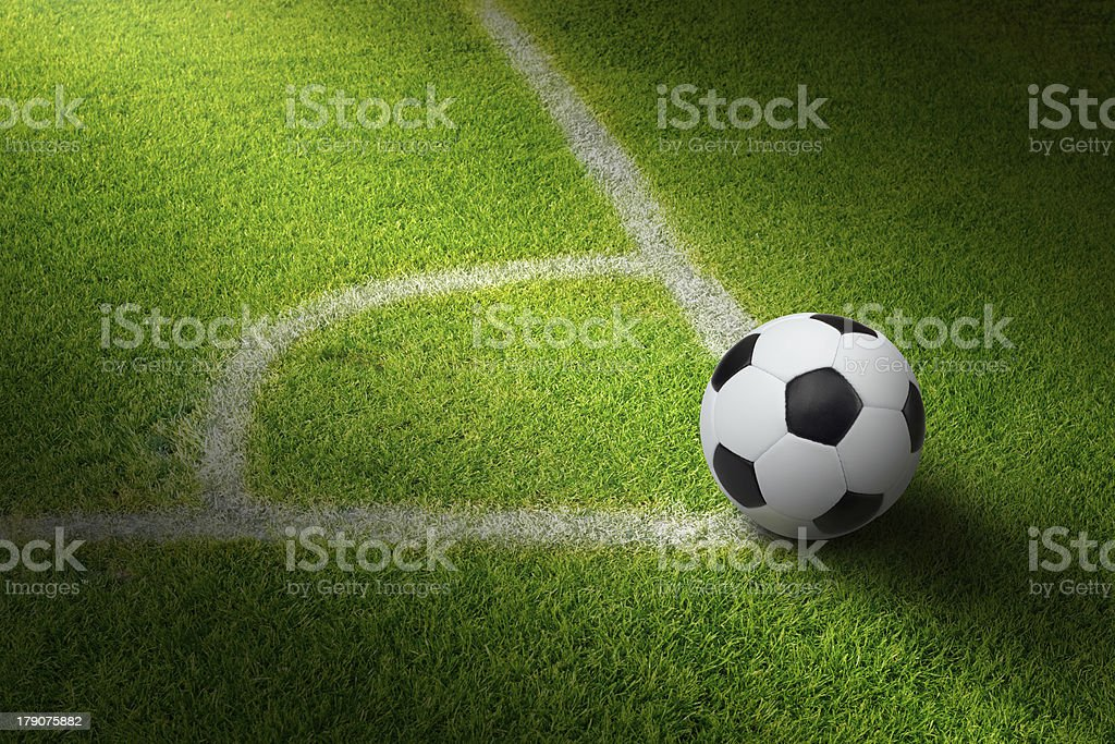 Soccer ball, stadium stock photo