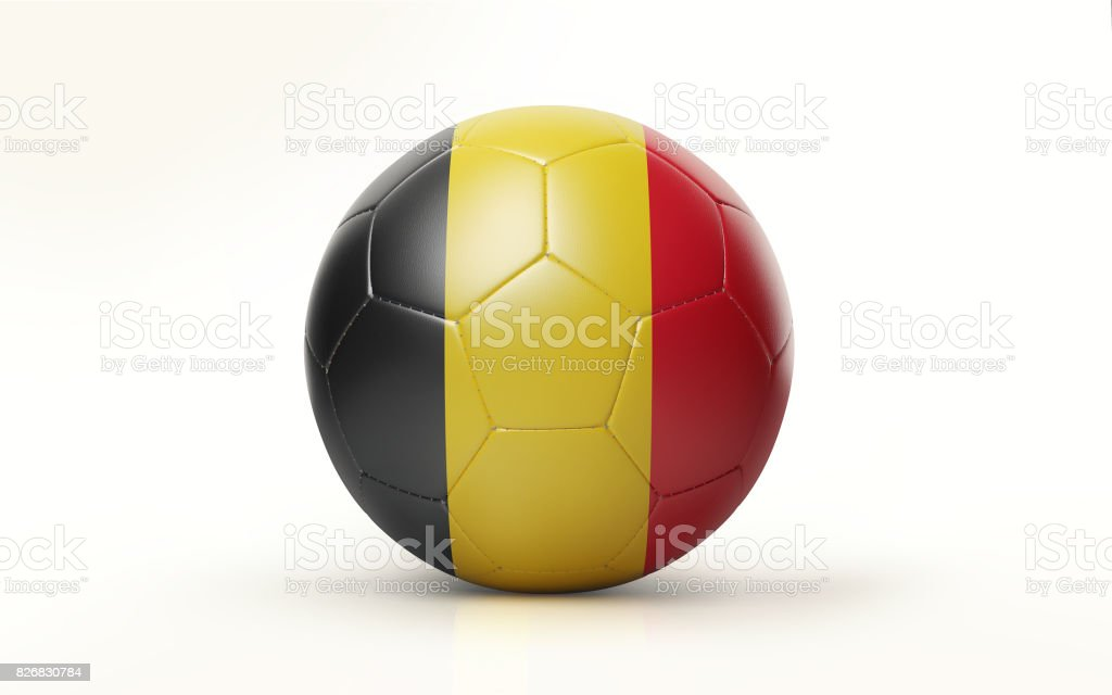 Ballon de soccer texturé avec drapeau belge isolée on White Background - Photo