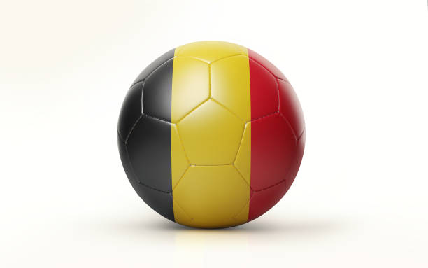 Soccer Ball Textured with Belgian Flag Isolated on White Background stock photo