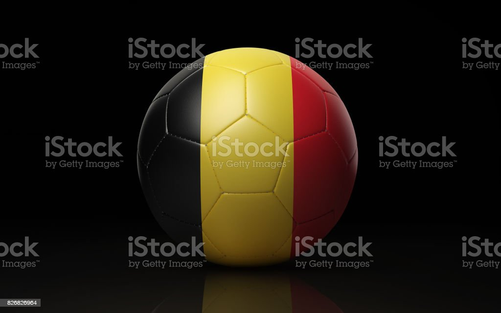 Soccer Ball Textured with Belgian Flag on Black stock photo