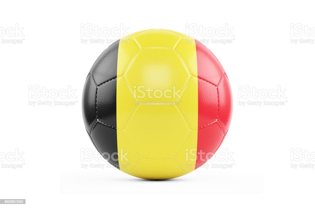 Soccer Ball Textured with Belgium Flag. Isolated on White Background stock photo