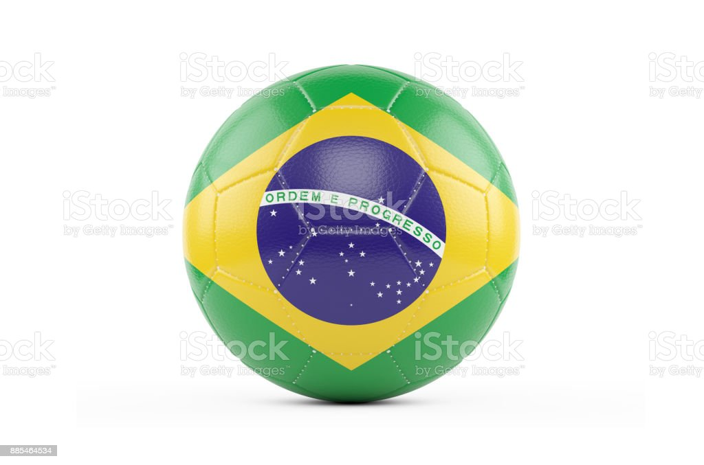 Soccer Ball Textured with Brasil Flag. Isolated on White Background стоковое фото