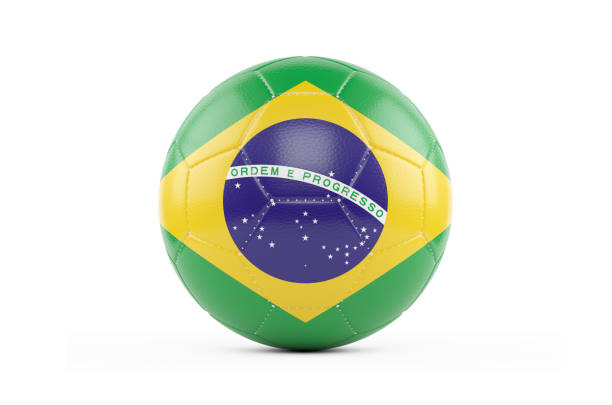 Soccer Ball Textured with Brasil Flag. Isolated on White Background stock photo