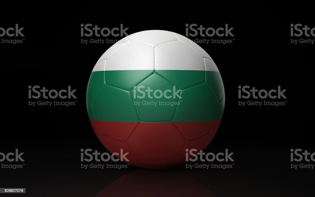 Soccer Ball Textured with Bulgarian Flag on Black stock photo