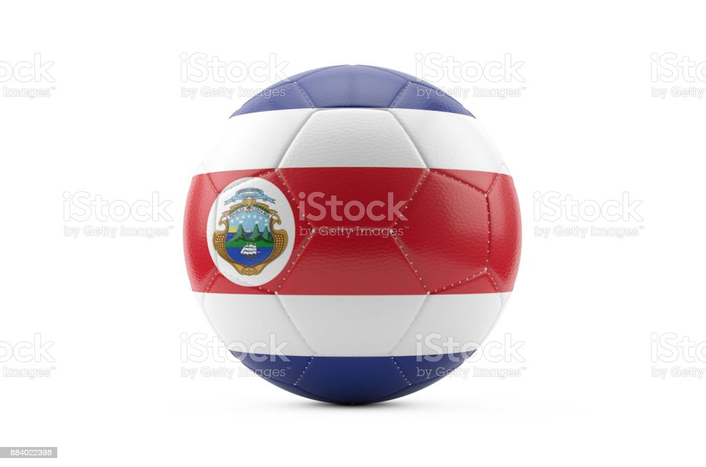 Soccer Ball Textured with Costa Rica Flag. Isolated on White Background stock photo