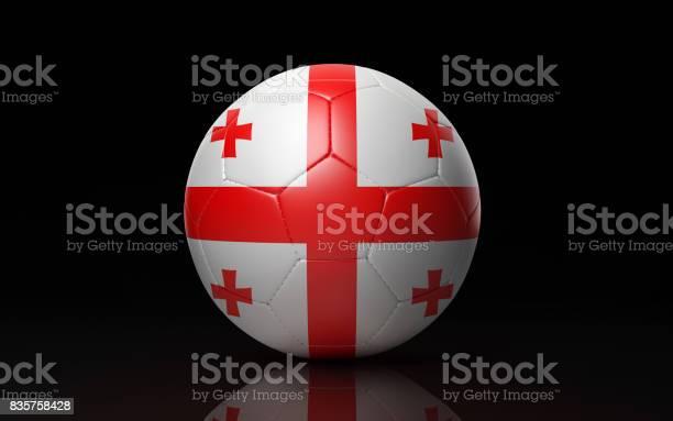 Soccer Ball Textured with Georgian Flag on Black