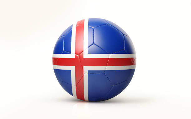 Cтоковое фото Soccer Ball Textured with Icelandic Flag Isolated on White Background