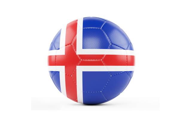 Bola de futebol texturizada com bandeira da Islândia. Isolado no fundo branco - foto de acervo