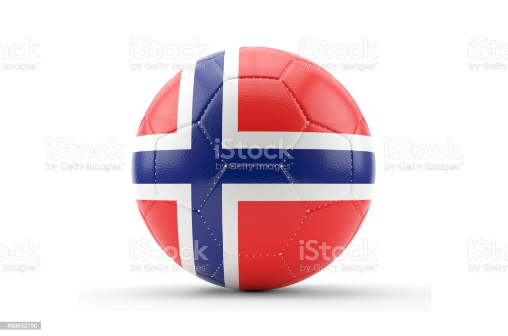 Soccer Ball Textured with Norway Flag. Isolated on White Background стоковое фото