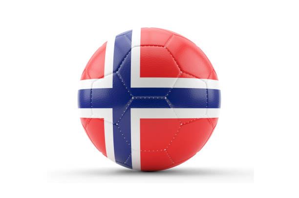 Cтоковое фото Soccer Ball Textured with Norway Flag. Isolated on White Background