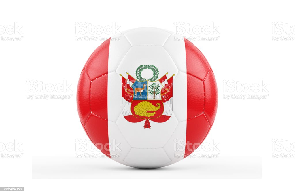 Soccer Ball Textured with Peru Flag. Isolated on White Background стоковое фото