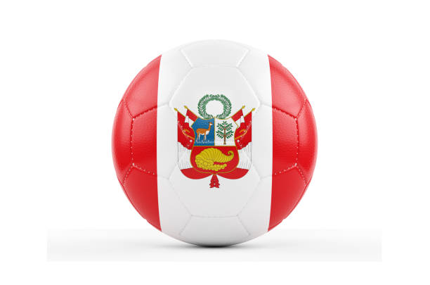 Cтоковое фото Soccer Ball Textured with Peru Flag. Isolated on White Background