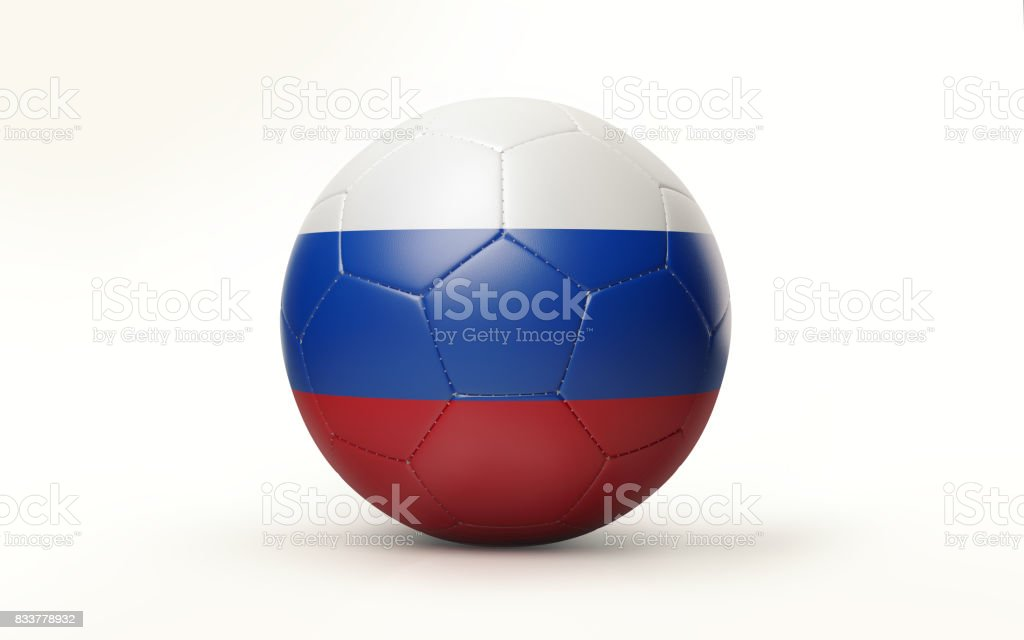 Soccer Ball Textured with Russian Flag Isolated on White Background stock photo