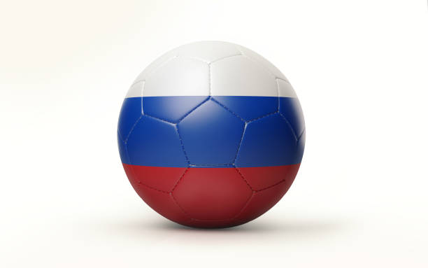 Cтоковое фото Soccer Ball Textured with Russian Flag Isolated on White Background