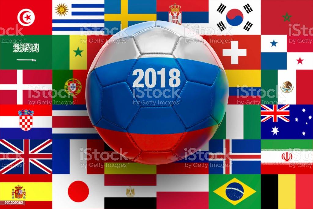 Bola de futebol texturizada com russo - foto de acervo