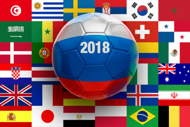 Soccer Ball Textured with Russian stock photo