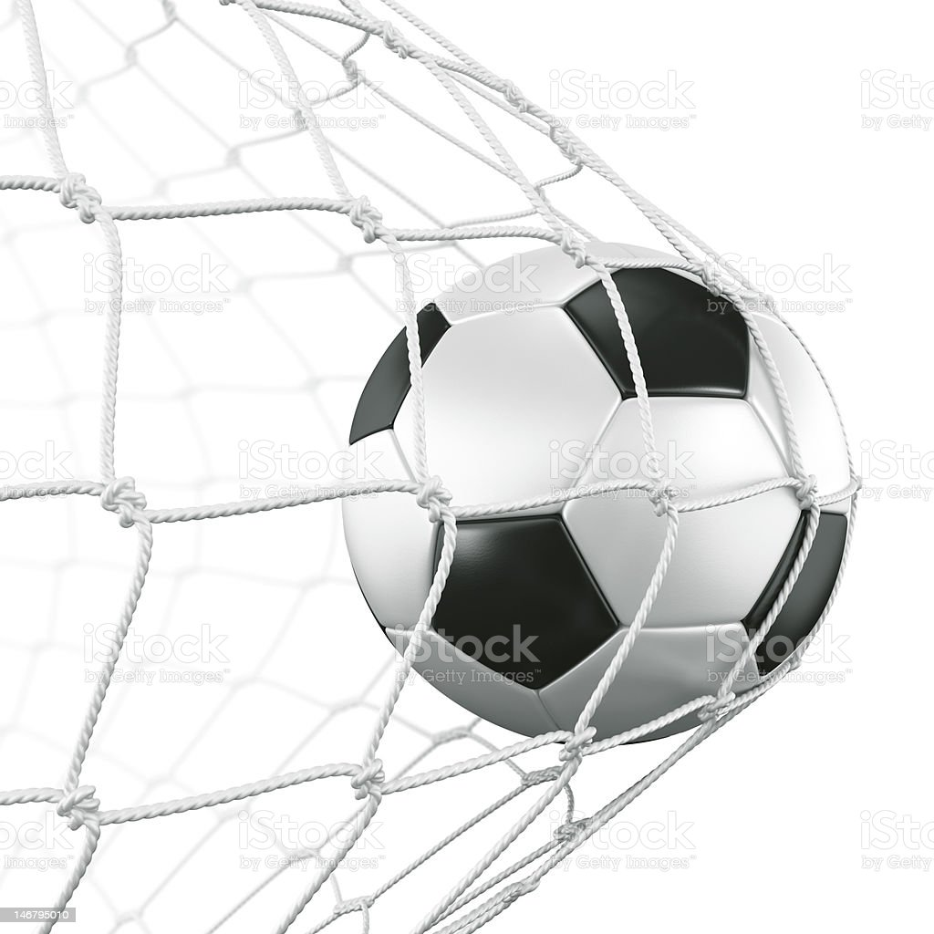 A soccer ball that was kicked into the goal scoring a goal - Royalty-free Cut Out Stock Photo
