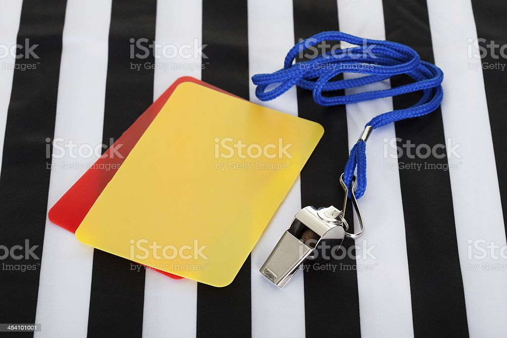 Soccer ball, whistle and cards royalty-free stock photo