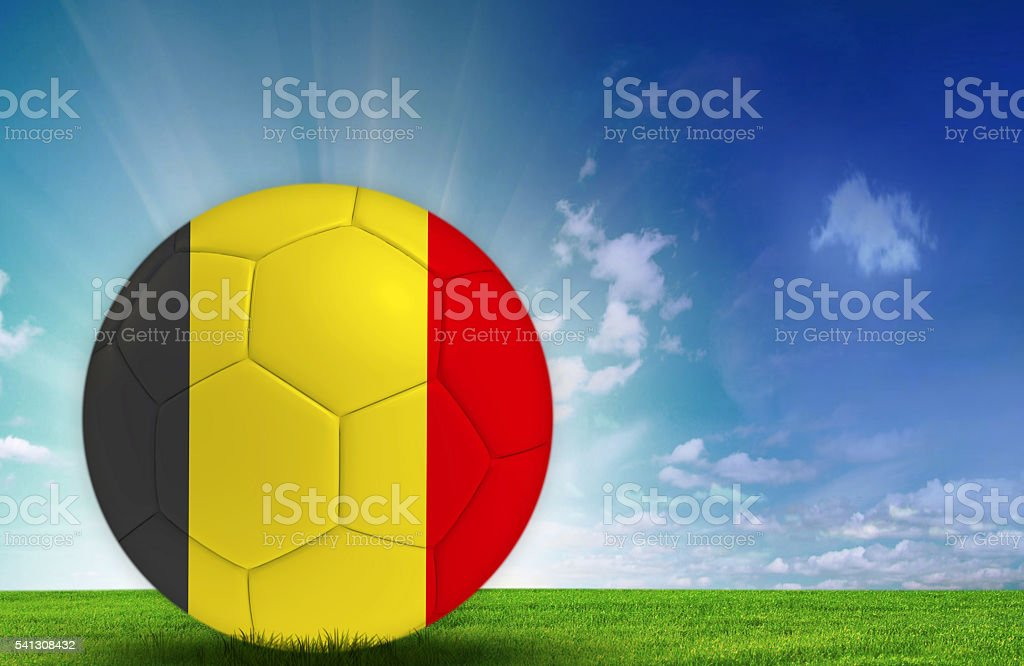 Soccer ball with Belgian flag stock photo