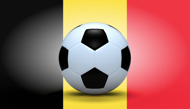 Soccer ball with Belgium flag stock photo