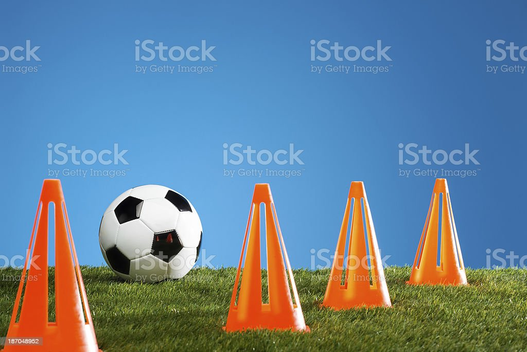 Soccer Ball With Cones royalty-free stock photo