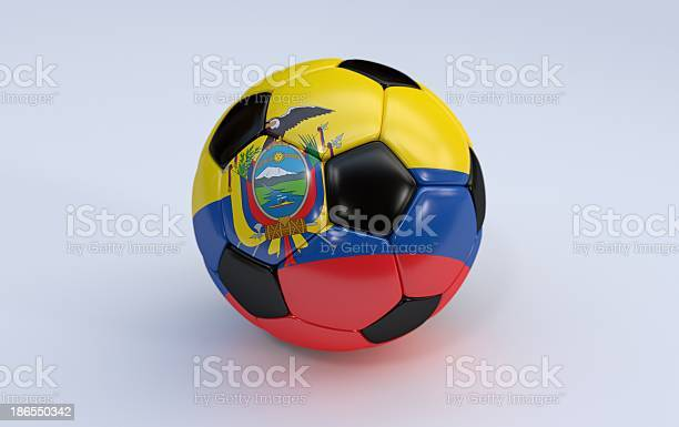 Soccer ball with Ecuador flag