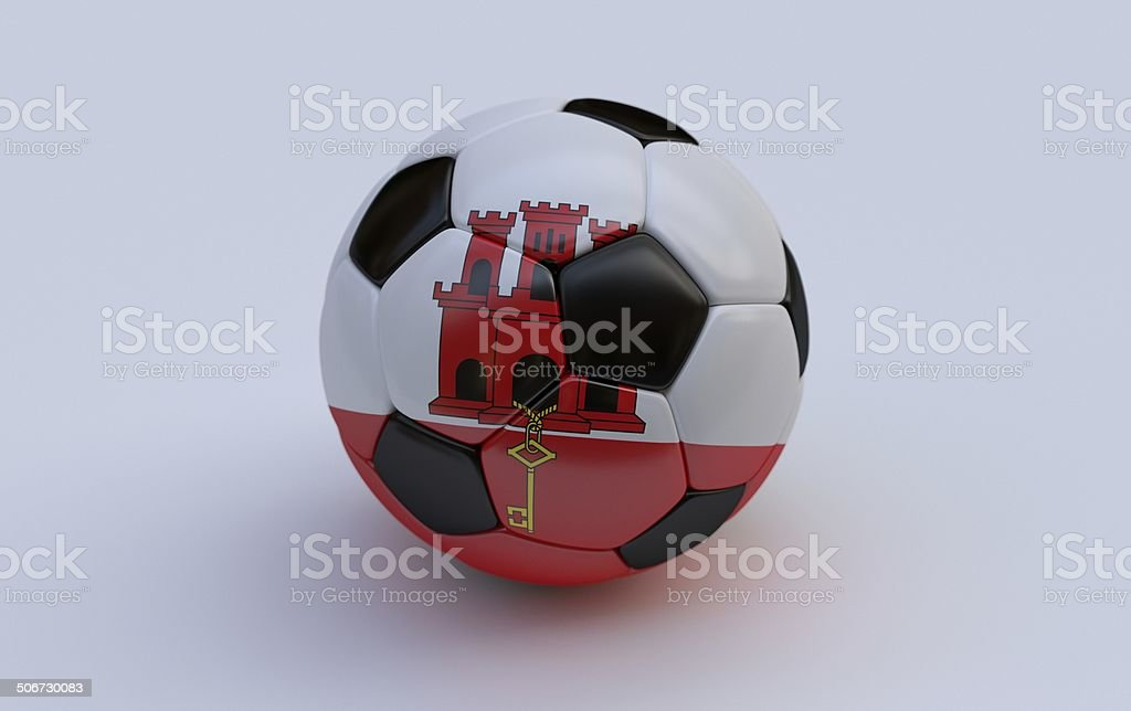 Soccer ball with flag of Gibraltar royalty-free stock photo