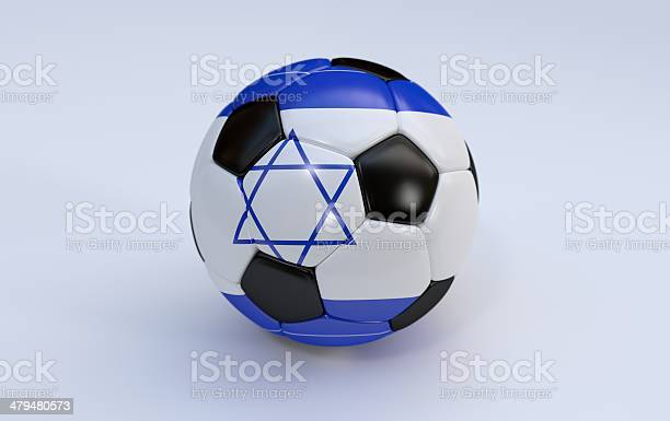 Soccer ball with flag of Israel
