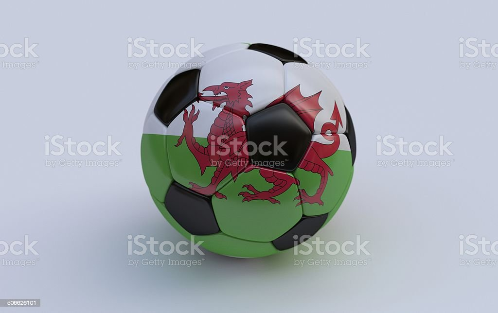Soccer ball with flag of Wales royalty-free stock photo